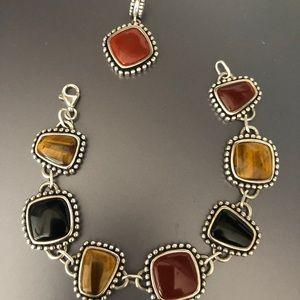 Stamped Sterling  Bracelet & Charm Necklace Set